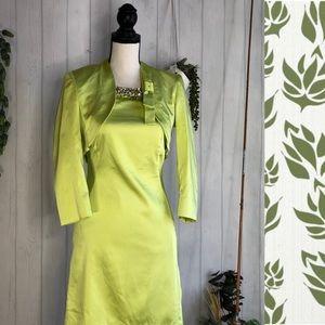 Nenette Milan Chartreuse Cocktail Dress & jacket
